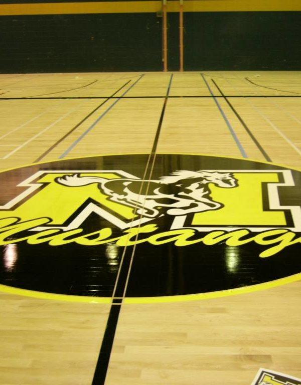 Dominique Racine - Plancher de gymnase avec logo